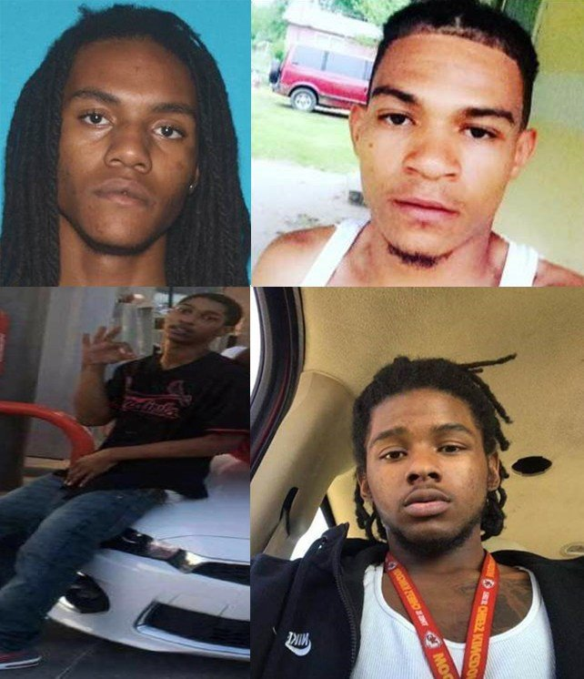 The four persons of interest. Top left: Ty'Reik DelShaun Franklin. Top right: Harold W. Craig. Bottom two pictures: Unidentified individuals. (Lee's Summit Police Department, KCTV)