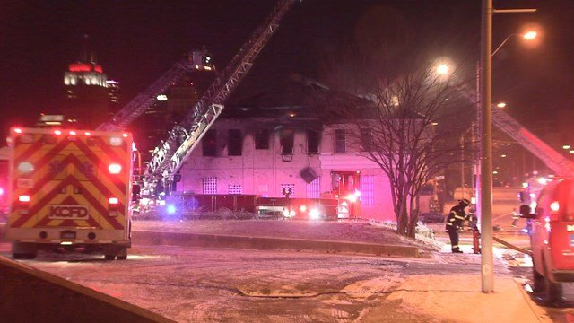 Fire crews battled flames at the Fountain Theater located at 901 Tracy Avenue. (KCTV5)