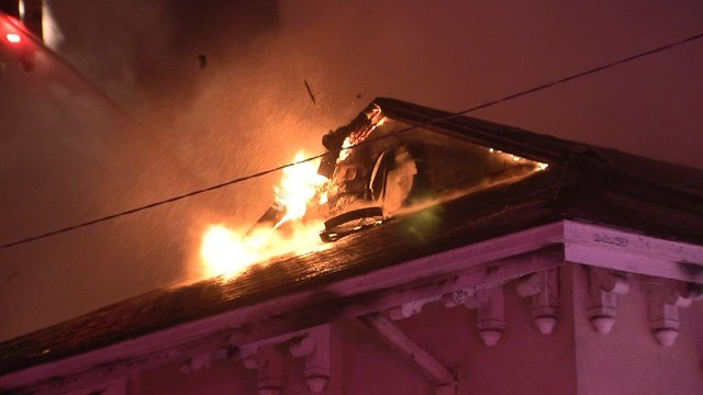 Officials say the fire started in a back room but don't know what sparked it. (KCTV5)