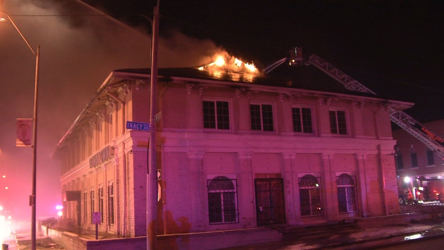 The former Fountain Theater at East Ninth Street and Tracy Avenue was completely engulfed in flames Thursday morning. No one was inside the building at the time. (KCTV5)