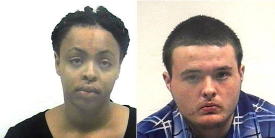 Brandon J. Adams, 18, right, of Independence, and Faith A. Moore, 18, each face first-degree robbery charges. (Raytown PD)