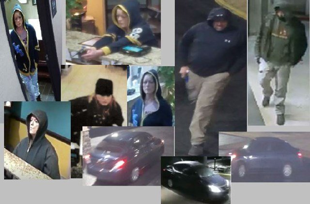 Police are searching for a man and a woman after hotels and motels in six metro cities were robbed at gunpoint. (Blue Springs PD)