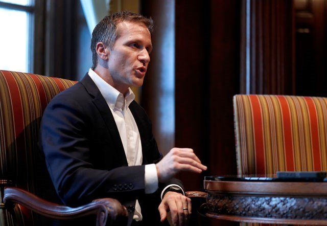 Missouri Gov. Eric Greitens speaks during an interview in his office at the Missouri Capitol Saturday, Jan. 20, 2018, in Jefferson City, Mo. Greitens discussed having an extramarital affair in 2015 before taking office. (AP Photo/Jeff Roberson)