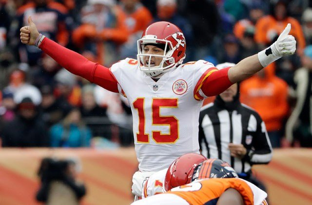 FILE- In this Dec. 31, 2017, file photo, Kansas City Chiefs quarterback Patrick Mahomes (15) signals against the Denver Broncos during the first half of an NFL football game in Denver. (AP)