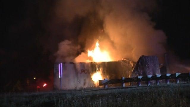 Kansas man dies in fiery crash on interstate