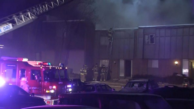 The fire started at about 2 a.m. at the Meadowlark Hill Apartments, located at 9151 Robinson Street. (KCTV5)