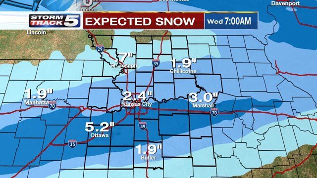 Snowfall totals between 1.5-inches and 2-inches are possible near Kansas City, with2-inches to 3-inchespossible south of Interstate-70. (KCTV5)