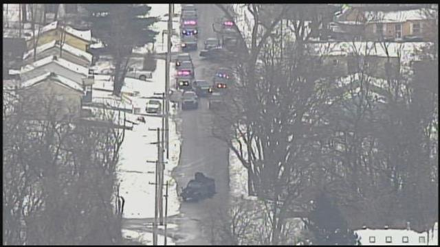 Police say an active shooter targeted officers at 53rd Street and Indiana Avenue in Kansas City. (Chopper5)