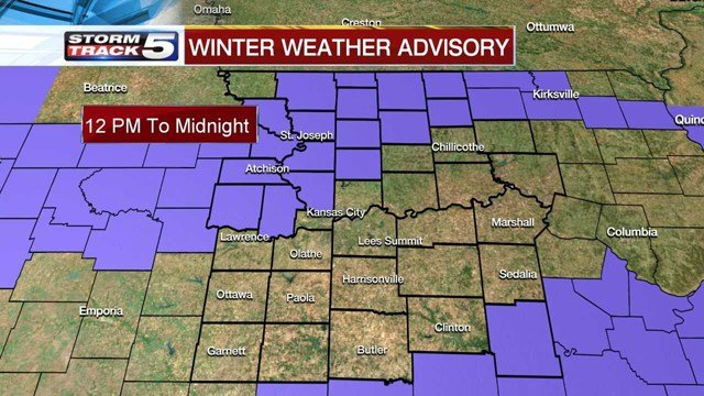 A Winter Weather Advisory has been issued for counties both north and south of the Kansas City area. (KCTV5)