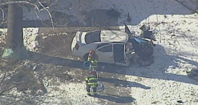 Police say only one vehicle, a white sedan, was involved in the crash. (KCTV5)