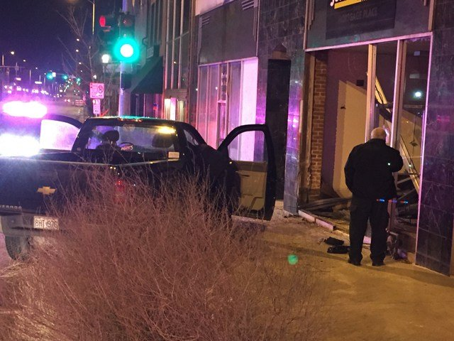 The crash happened at about 2:45 a.m. at the Just Say Cash, located at 39th and Main Streets. (KCTV5)