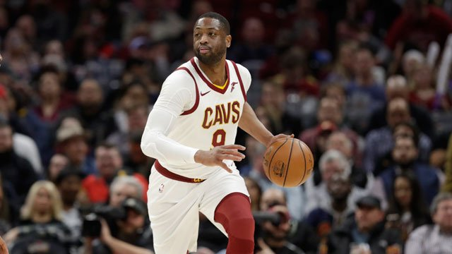 Cleveland Cavaliers' Dwyane Wade drives against the Miami Heat in the first half of an NBA basketball game, Wednesday, Jan. 31, 2018, in Cleveland. (AP Photo/Tony Dejak)