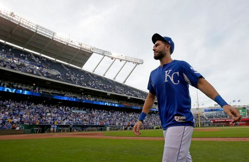 Kansas City Royals' Eric Hosmer walks off the field after a baseball game against the Arizona Diamondbacks Sunday, Oct. 1, 2017, in Kansas City, Mo. The Arizona Diamondbacks won 14-2. (AP Photo/Charlie Riedel)