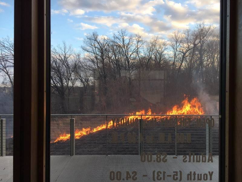 Fire crews from multiple agencies, including Ft. Osage, Independence, Sni Valley, Central Jackson County, Liberty and Wellington-Napoleon, responded to the scene around 5 p.m. Sunday. (Jackson County Parks + Rec)