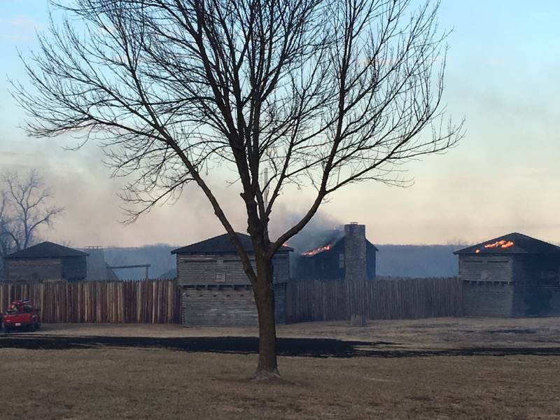 An investigation is underway to determine how and where the grass fire started, but firefighters say high winds and dry weather conditions caused the fire to spread to the historic landmark.  (Jackson County Parks + Rec)