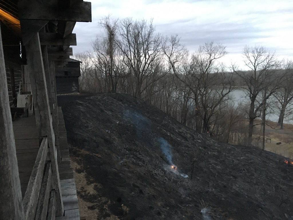 An initial assessment by the Jackson County Parks and Recreation has determined that three buildings and a fence at Fort Osage sustained damage. The full extent of the damage is unknown. (Jackson County Parks + Rec)