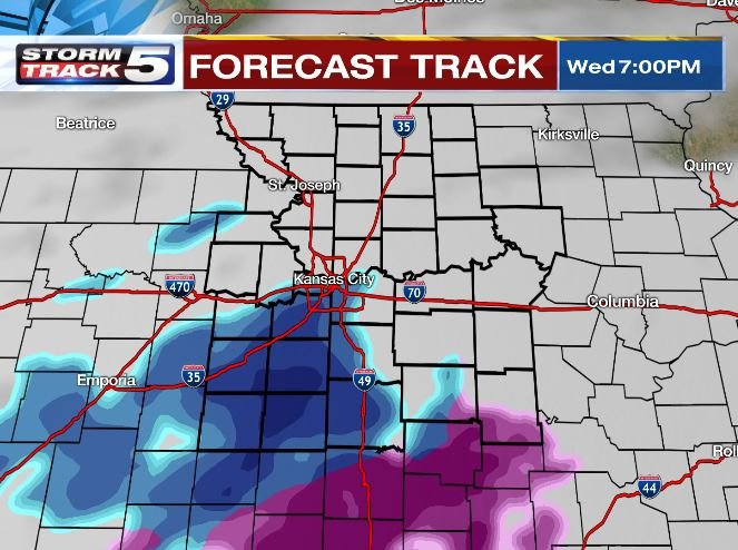 Wednesday will start out cold as skies increase with clouds leading to a few scattered snow flurries during the evening followed by a possible sleet mix later in the overnight hours. (KCTV5)