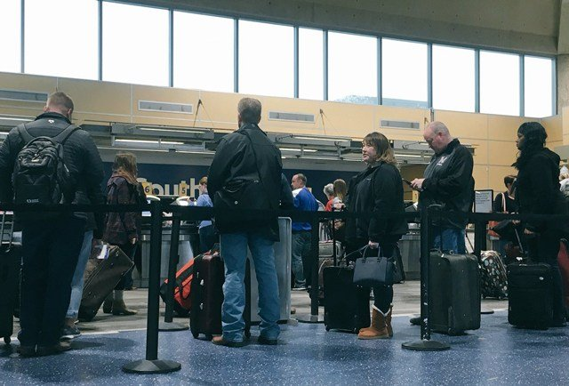 The travelers who had canceled flights on Tuesday are hoping to be able to fly out on Wednesday but many of those flights have also been canceled. (KCTV5)