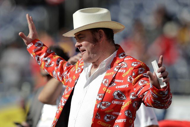 Actor and Kansas City Chiefs fan David Koechner looks on before an NFL football game against the San Diego Chargers Sunday, Jan. 1, 2017, in San Diego. (AP Photo/Rick Scuteri)
