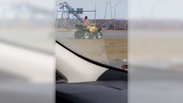 Police took a man into custody after he led them on a pursuit riding naked on an ATV. (Jess Fishell)