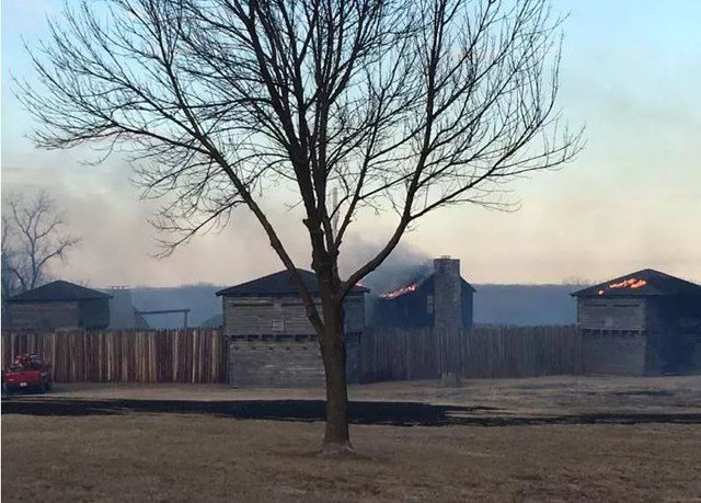 Flames from the Feb. 18 fire were driven by strong winds and spread to the historic landmark causing the eight-day closure. (Jackson County Parks + Rec)