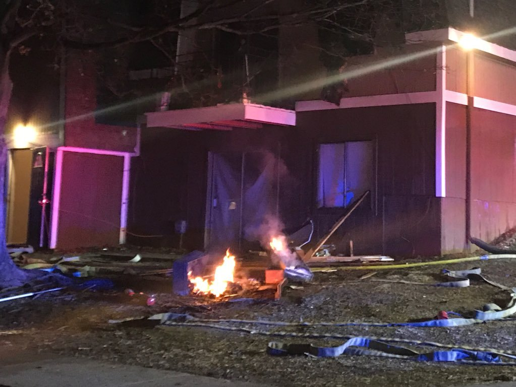 Investigators in Raytown say arson was the cause of flames that trapped a woman inside an area apartment complex on Thursday evening. (Emily Rittman/KCTV5)