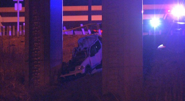 Officers say the driver lost control, went through a guardrail and crashed into a concrete pillar. (KCTV5)