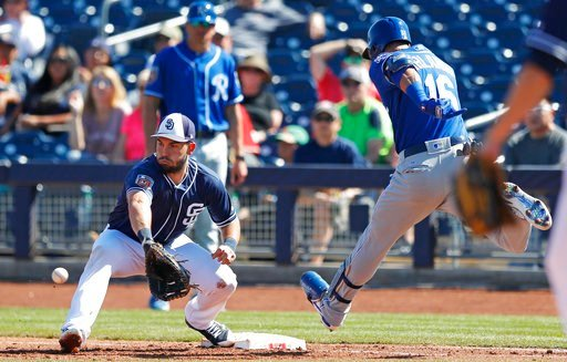 San Diego Padres first baseman Eric Hosmer, left, forces out Kansas City Royals Paulo Orlando out at first base during the second inning of a spring training baseball game, Friday, March 2, 2018, in Peoria, Ariz. (AP Photo/Charlie Neibergall)
