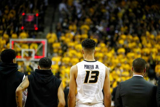 Missouri's Michael Porter Jr. stands with his teammates before the start of an NCAA college basketball game between Missouri and Iowa State Friday, Nov. 10, 2017, in Columbia, Mo. (AP Photo/Jeff Roberson)