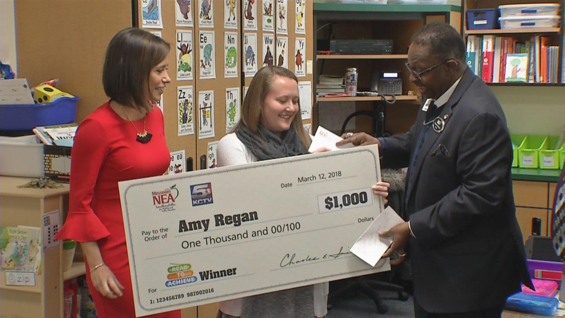 Kindergartenteacher Amy Regan was nominated by one of her students. (KCTV5)