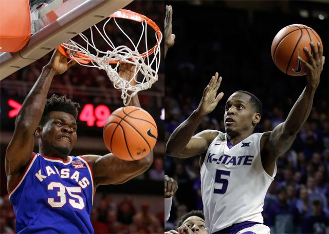FILE - At left, Kansas' Udoka Azubuike dunks against Iowa State. Kansas State guard Barry Brown shoots against Oklahoma. (AP Photo/File)