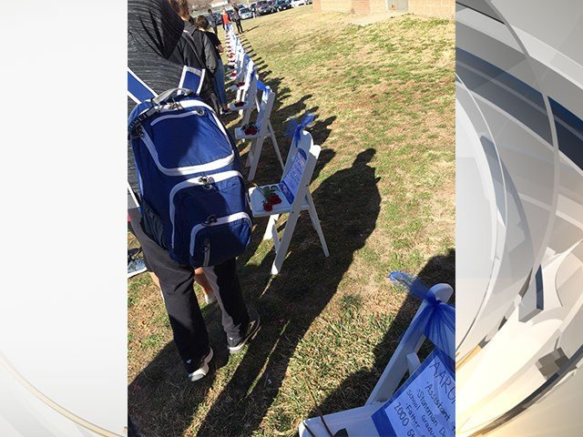 The walkout included chairs with names of the Parkland victims on them and facts about them. (Emmaleeann Frances Shroyer)