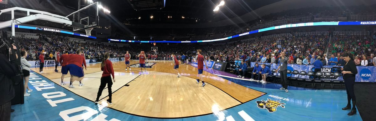 Kansas has quite the following in Wichita with almost 4,000 students bussed from schools to Intrust Bank Arena simply to watch them practice Wednesday. (Dani Welniak/KCTV5 News)