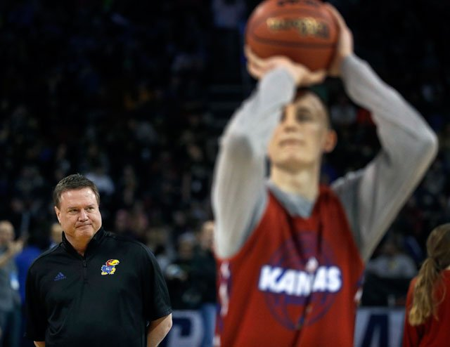 Kansas head coach Bill Self watches practice for an NCAA college basketball first round game Wednesday, March 14, 2018, in Wichita, Kan. (AP Photo/Charlie Riedel)