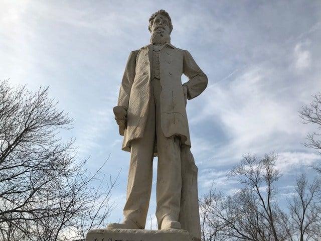 A statue of fiery abolitionist John Brown has been vandalized in Kansas City, KS. (Kimo Hood/KCTV5)