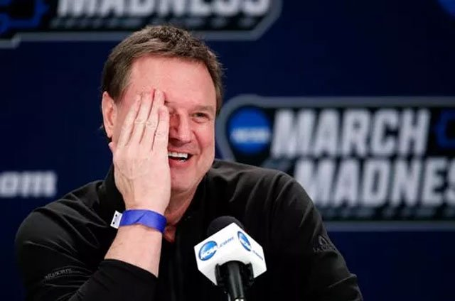 (AP Photo/Orlin Wagner). Kansas head coach Bill Self smiles during a news conference for their NCAA men's college basketball tournament second-round game against Seton Hall, Friday, March 16, 2018, in Wichita, Kan.