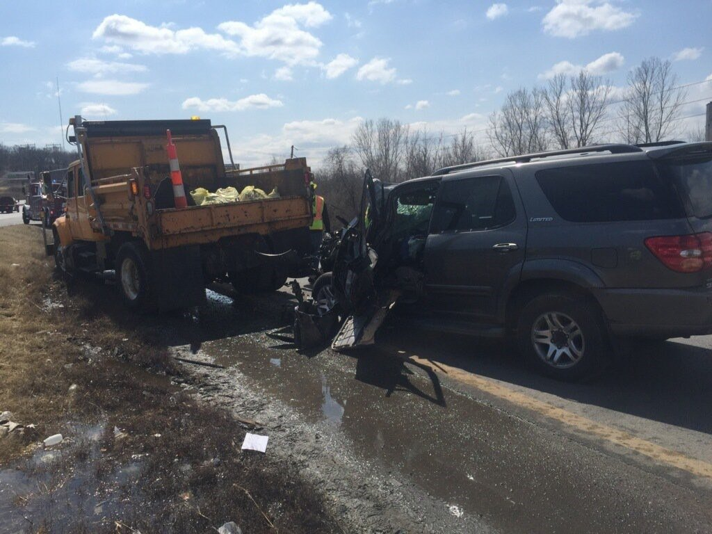 Three MoDOT crew members have been hospitalized after a motorist slammed into the back of their work truck. (MoDOT Kansas City?/Twitter)