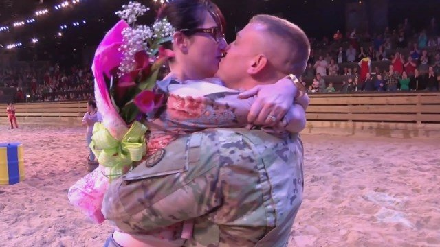 The two hadn't seen one another for an entire year. That changed this week when Sgt. Bryan Samsel made a surprise appearance at a show his wife was attending in Branson. (CBS)
