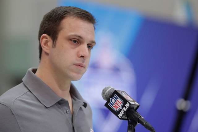 Kansas City Chiefs general manager Brett Veach speaks during a press conference at the NFL football scouting combine in Indianapolis, Thursday, March 1, 2018. (AP Photo/Michael Conroy)