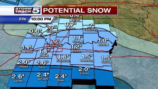 The system is expected to weaken as it moves south and snow accumulations are expected to be light. A sleet or cold rain mix is expected to accompany the snow. (KCTV5)