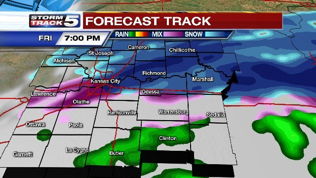 Snow and cold air will then transition south and is expected to arrive in the metro by the mid-afternoon hours. (KCTV5)