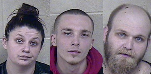 Kortney M. Shoop, 27, left, faces first-degree assault and resisting a lawful stop. Hunter A. Fanara, 26, center, and Colby R. Srite, 26, both face first-degree assault and armed criminal action. (Jackson County Jail)