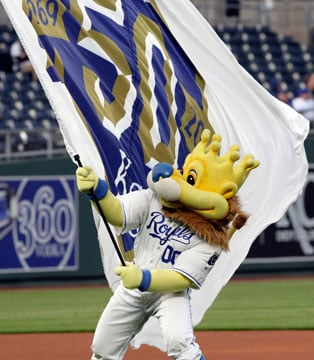 Kansas City Royals mascot Sluggerrr before a baseball game against the Seattle Mariners at Kauffman Stadium in Kansas City, Mo., Tuesday, April 10, 2018. (AP Photo/Orlin Wagner)