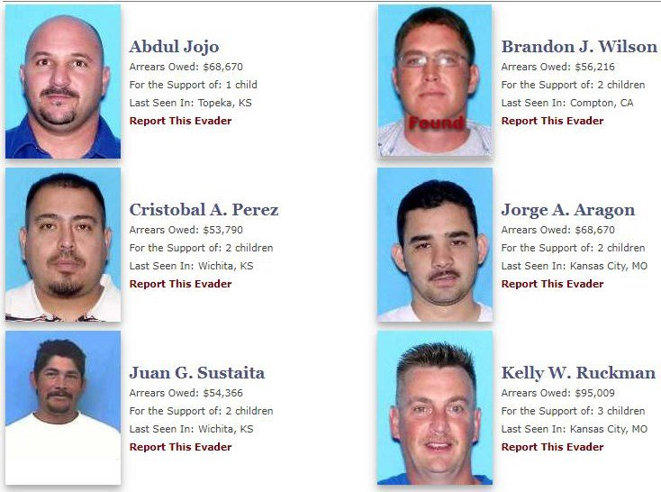 """Some of the individuals on the """"Child Support Evaders"""" website. (Kansas DCF)"""