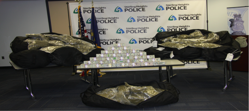 Law enforcement officials say three people are being investigated after officers seized 350 pounds of marijuana during a traffic stop on Interstate 70. (Sterling Heights Police Department/Facebook)