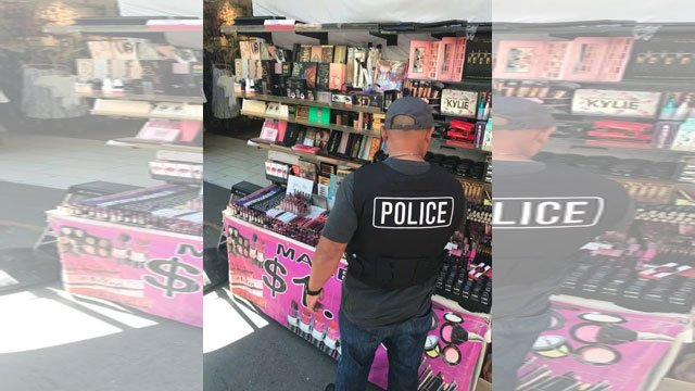 LAPD seized $700,000 worth of bootleg cosmetics on Thursday after raiding 21 locations in Santee Alley, a Los Angeles fashion district, said LAPD Capt. Marc Reina. (LAPD)