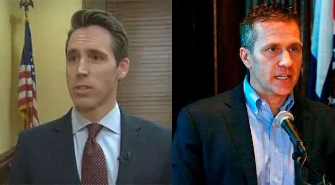 Josh Hawley and Eric Greitens (file photos).