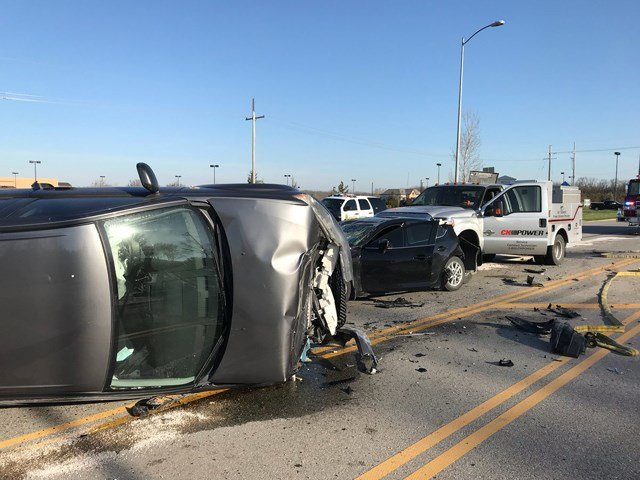 Authorities have closed southbound Kansas Highway 7 at Spruce Street due to a three-vehicle crash. (Twitter/Olathe PD)