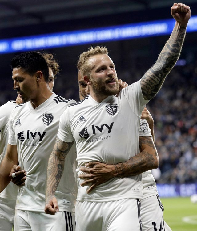 Russell delivered a dominant performance in Friday's 6-0 win over the Vancouver Whitecaps FC, scoring the eighth MLS hat-trick in Sporting KC history. (AP)