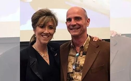 Tammie Jo and Dean Shults at MidAmerica Nazarene University in March 2017. Tammie Jo spoke to a Lunch and Learn gathering about breaking the glass ceiling. (Kevin Garber, MidAmerica Nazarene University)
